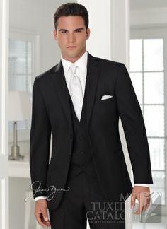 black suit, silver tie