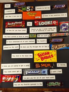 Created A gymnastics themed candy bar poster to wish E luck at Worlds. Gymnastics Floor Music, Gymnastics Team, Cheerleading Treats, Good Luck Quotes, Basketball Senior Pictures, Spirit Sticks, Candy Bar Posters, Candy Board, Candy Grams
