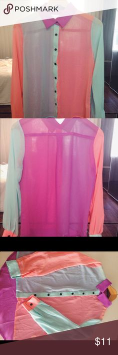NWOT Sheer ladies color block blouse • button down   • very fun print    • long sleeve     •100% polyester    • hand wash cold   • Never worn Tops Button Down Shirts