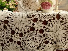 Woodland Fairy~Vintage Crochet Lace Tray Cloth Doily Off White Cotton~Snowflake   | eBay