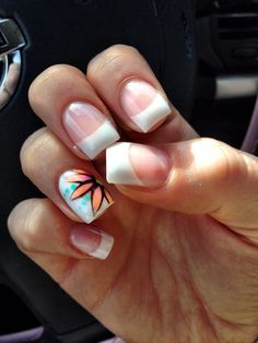 French Tip Gel Nails with Flower Art design