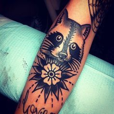 Raccoon Tattoo by Josh Stephens, but panda? Forearm Tattoos, Body Art Tattoos, Sleeve Tattoos, Trendy Tattoos, Cute Tattoos, Tatoos, Raccoon Tattoo, Tattoo Owl, Tattoo Time