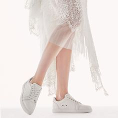 Incredible bridal sneakers | One Fab Day - Christian Leboutin Best Bridal Shoes, Bridal Flats, Wedding Boots, Wedding Heels, Sparkly Flats, High End Shoes, Exclusive Shoes, Pretty Ballerinas, Kinds Of Shoes