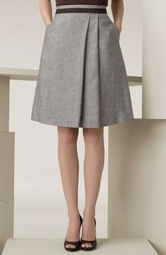 Max Mara 'Magia' Linen Blend Skirt  Dark-toned grosgrain belt wraps the waist of a crosshatched A-line skirt styled with two front pleats.