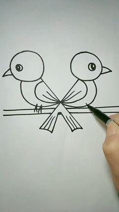 Easy Love Drawings, Easy Cartoon Drawings, Art Drawings Sketches Simple, Pencil Drawings, Easy Doodles Drawings, Cute Doodle Art, Doodle Art Designs, Cute Art, Hand Art Kids