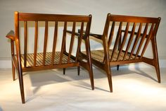 Danish Modern SELIG Walnut Lounge Chairs