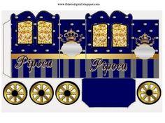 Corona Dorada en Azul y Brillantes: Caja con Forma de Carruaje para Imprimir Gratis.