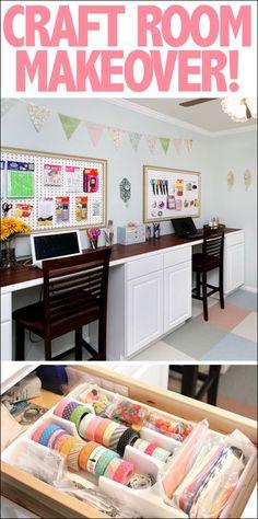 Craft room makeover including DIY craft room desk tutorial! LOTS of organization!!