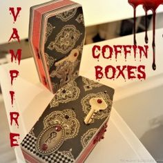 Learn how to make these elegantly gothic vampire coffin boxes for Halloween! By The Answer is Chocolate for Pet Scribbles Posted by The Shed