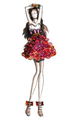 Colorful Fashion Sketch. Oh to be able to sketch like this.
