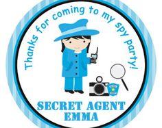 spy birthday stickers spy birthday party stickers  spy stickers secret agent party sticker goody bag sticker favor tag