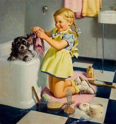 Art Frahm - Puppy Bath, Oil on canvas board on MutualArt.com