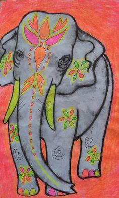 Great cultural art lesson emphasizing color, scale and India design patterns. Elefante Hindu, Elephant Crafts, 6th Grade Art, Circus Art, India Art, Art Lesson Plans, Art Classroom, Art Plastique, Elementary Art
