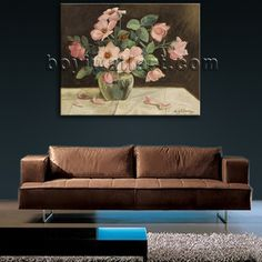 Elegant designed 1-panel giclee print on artist canvas with bouquet in still life style. It is available in numerous sizes to fit any size room!