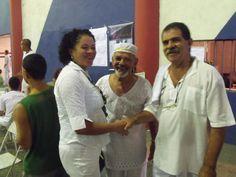 Flávia Pinto e os Ogãs Zé Carlos D'Oxosse e Mano Lopes no Festival de Cantigas