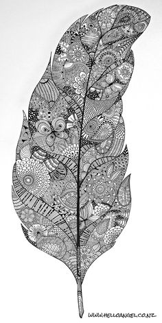 Zentangle feather - art by ? Doodles Zentangles, Zentangle Drawings, Zentangle Patterns, Doodle Drawings, Doodle Art, Free Adult Coloring Pages, Colouring Pages, Coloring Books, Tangle Art