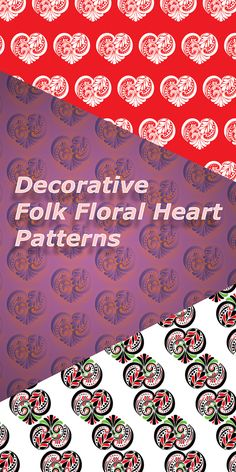 Buy Decorative Folk Floral Heart Patterns by AnnArtshock on GraphicRiver. Decorative heart made of floral folk ornaments vector pattern set. Included in the Ai file are complete floral heart . Heart Patterns, Floral Patterns, Texture Design, Abstract Photography, Web Design Inspiration, Vector Pattern, Flyer Design, Decoration, Spring