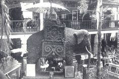 The Walnut Elephant, a creation of the dynamic Frank Wiggins, brought lasting fame to the Los Angeles Chamber of Commerce. The celebrated animal was originally built for Los Angeles' exhibit at the Chicago World's Fair in 1893. (L.A. Area Chamber collection)