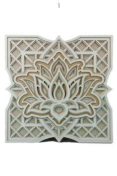 3D Holz Lotusblumen Mandala Graviert Wanddeko Wandbild Holzdeko Laser Cut Wohnzimmer Dekoration Deko Geschenk für Geburtstag Hochzeit Muttertag   Weihnachten besondere Anlässe