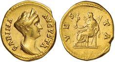 NumisBids: Nomisma Spa Auction 50, Lot 29 : ROMA IMPERO Sabina (moglie di Adriano) Aureo – Busto diademato a d....
