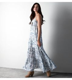 Chambray Blue AEO Tiered Printed Maxi Dress