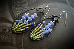 Blossom Series, Flowers, Lavender, Wire Wrapped, Hoops, Artisan Made, Southwest, Summer, Glass, Organic, Rustic,Unique, Beaded Earrings by YuccaBloom on Etsy