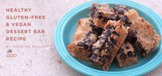 Yumm - Gluten-Free & Vegan Dessert Bar Recipe by Christine Bullock Vegan Gluten Free Desserts, Best Gluten Free Recipes, Paleo Dessert, Dessert Bars, Dessert Recipes, Bar Recipes, Healthy Eating Recipes, Healthy Treats, Clean Recipes