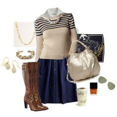 stripe crewneck & flair skirt, created by shopwithm on Polyvore