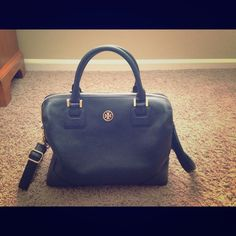 Navy Tory Burch Robinson Satchel Only used twice, gorgeous leather with gold hardware. Cross body strap comes with it. Retailed for $550 Tory Burch Bags Satchels