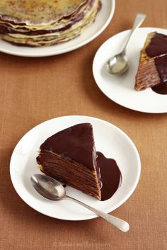 Bruleed Mocha Crepe Cake with Chocolate Liqueur Sauce