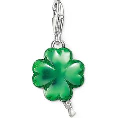 THOMAS SABO Charm club silver and enamel cloverleaf balloon charm ($100) ❤ liked on Polyvore featuring jewelry, pendants, green charm, enamel jewelry, silver jewellery, green jewelry and charm jewelry