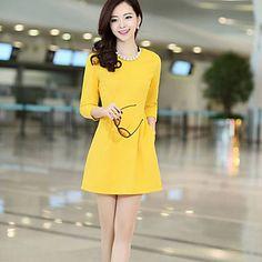 Women's Blue/Black/Yellow Dress , Work ¾ Sleeve – USD $ 14.99