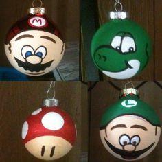 Mario brother christmas tree ornaments I made. Mario, luigi, toad, yoshi handpainted ornaments.