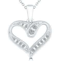 2544b61d0222 0.15 Carat Natural Diamond Heart Shape Diamond Pendant Necklace 14k White  Gold  LioriDiamonds  DiamondHeartPendant
