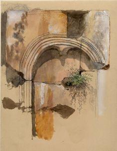 Ruskin, John - Study of a blind Arch in the Colosseum John Everett Millais, Watercolor Architecture, John Ruskin, Cityscape Art, Van Gogh Art, English Artists, A Level Art, Pre Raphaelite, Landscape Drawings