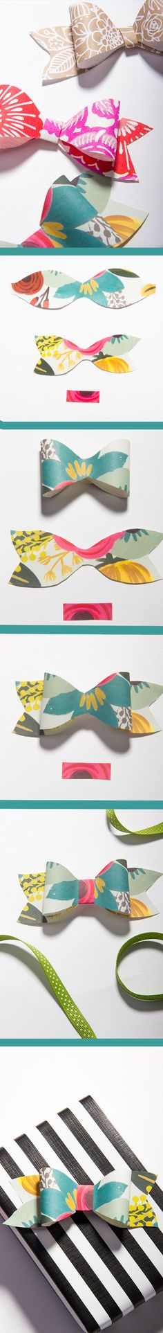 Nifty gift bow tie! How to make the perfect gift box topper! Just use printed scrap paper and finish with a ribbon!
