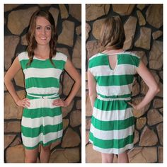 White and green keyhole dress with belt! www.lundyjanesboutique.com