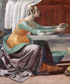 Domenico Ghirlandaio: Birth of St John the Baptist (detail), 1486-90 Florence: Santa Maria Novella, Cappella Maggiore