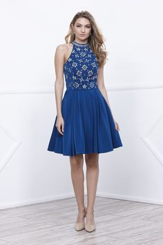 Buy the Sleeveless Bejeweled High Neck Short A-line Dress by Nox Anabel at CoutureCandy.com, the largest selection of Nox Anabel dresses available online.