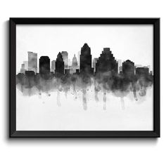 Austin Skyline Texas USA United States Cityscape Art Print Poster Black White Grey Watercolor Painting This is for 1 print available in