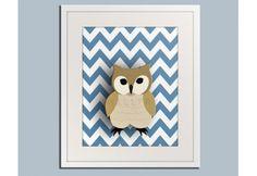 WOODLAND OWL (CHEVRON) print