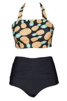 3d285b63a2 Women s Pineapple Printing Vintage High-Waisted Halter Padded Bikini Set  Swimwear - CJ17YDK8K44