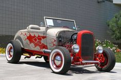Silver & Red flamed Hot Rod
