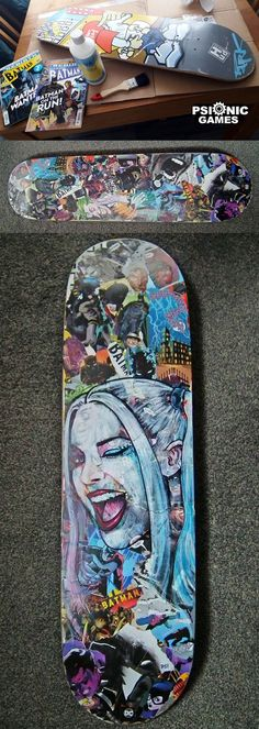 If you love skating and art- equally, then it's high time you brought the two together. Try out some DIY Skateboard deck Art Ideas and you will feel happier than ever to ride it. Painted Skateboard, Skateboard Deck Art, Skateboard Design, Skateboard Girl, Custom Skateboard Decks, Skateboard Parts, Custom Skateboards, Cool Skateboards, Harley Quinn