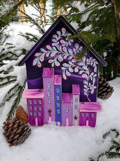 Painted Wood, Little Houses, Painting On Wood, Gingerbread, Diy And Crafts, Mini, Holiday, Woodwind Instrument, Wood Art