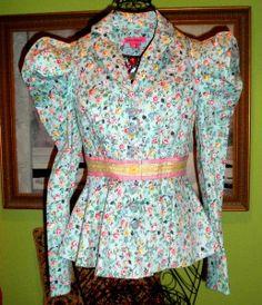 betsey johnson flower jacket | ... Betsey Johnson RUNWAY SHOW GARDEN DELIGHT PEPLUM Bow FLOUNCE JACKET