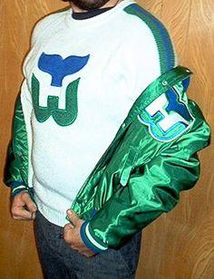 87114bba6 Vintage 80 s   90 s Hartford Whalers hockey jersey sweater by Starter.  (Vintage satin jacket