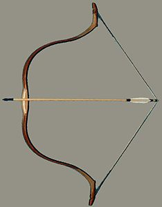 """Tatar/Russian composite recurve bow, strung and ready for use, like those owned by Nasan and Daniil in """"The Golden Lynx.""""  Note the similarity in form to Katniss's ultramodern bow in """"The Hunger Games""""!"""