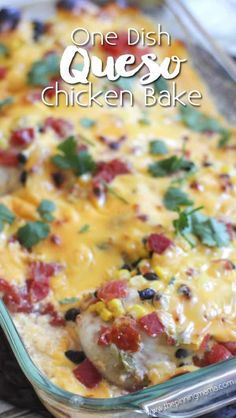 Queso chicken bake recipe - Easy delicious = best dinner EVER! My kids loved this dinner and asked for 2 extra servings! We made it with rice, but next time we will try tortillas! Easy Baking Recipes, Easy Dinner Recipes, Low Carb Recipes, Dinner Ideas, Yummy Recipes, Easy Dinners For One, Supper Recipes, Healthy Recipes, Entree Recipes