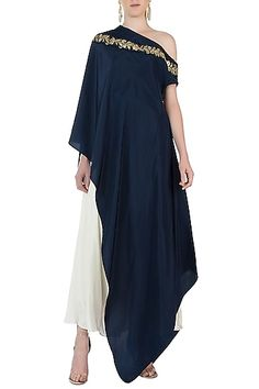 One Shoulder Cape Dress with Dhoti Pants For Women Top New Ethnic Stylish Indian Dress Source by etsy dress Indian Dresses, Indian Outfits, Stylish Dresses, Fashion Dresses, Fashion Pants, Cape Dress, Indian Ethnic Wear, Indian Designer Wear, Ladies Dress Design